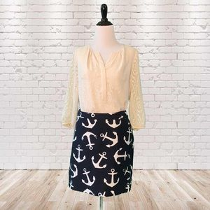 J. Crew Navy and White Dizzy Anchors Mini Skirt